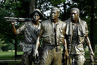 Jun 14, 2004; Washington DC, Washington, USA; Scenic exterior view of the frontside of The Three Servicemen Vietnam Veterans War Memorial statue in the Constituion Gardens.