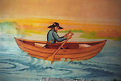 "A ""pilgrim boatman"" painted on the wall of a Roma home, in the new part of the Sintesti Roma camp. Nautical scenes are very popular as wall decoration, but no-one within the camp knows the reason why they were first painted.."