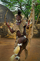 ESHOWE, SOUTH AFRICA, DECEMBER 2004. Visit Traditional Zulu villages of stay in Shakaland where the Chief gives you his welcome ritual. South African Nature offers some of the world's best adrenaline sports and outdoor challenges. Photo by Frits Meyst/Adventure4ever.com