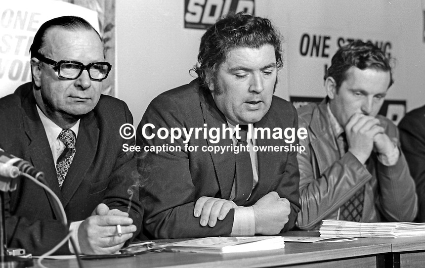 SDLP, Social Democratic &amp; Labour Party Press Conference to announce their party manifesto for the 10th October 1974 UK General Election. Left to right: Gerry Fitt, leader, John Hume, deputy leader, and Sean Hollywood, candidate, South Down. 197410000529c<br /> <br /> Copyright Image from Victor Patterson, 54 Dorchester Park, Belfast, UK, BT9 6RJ<br /> <br /> t1: +44 28 9066 1296 (from Rep of Ireland 048 9066 1296)<br /> t2: +44 28 9002 2446 (from Rep of Ireland 048 9002 2446)<br /> m: +44 7802 353836<br /> <br /> e1: victorpatterson@me.com<br /> e2: victorpatterson@gmail.com<br /> <br /> www.victorpatterson.com<br /> <br /> IMPORTANT: Please see my Terms and Conditions of Use at www.victorpatterson.com