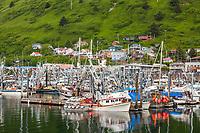 Boats docked at the boat harbor in downtown Kodiak, on the island of Kodiak, Alaska.
