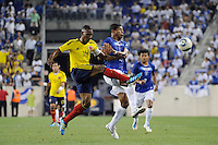 Luis Amaranto Perea (14) of Colombia clears the ball away from Carlo Costly (13) of Honduras. The men's national teams of Colombia (COL) defeated Honduras (HON) 2-0 during an international friendly at Red Bull Arena in Harrison, NJ, on September 03, 2011.