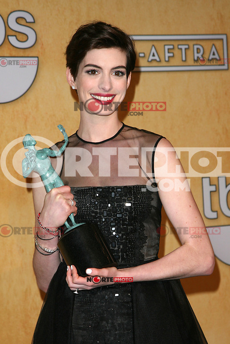 LOS ANGELES, CA - JANUARY 27: Anne Hathaway in the press room at The 19th Annual Screen Actors Guild Awards at the Los Angeles Shrine Exposition Center in Los Angeles, California. January 27, 2013. Credit: mpi27/MediaPunch Inc. /NortePhoto /NortePhoto