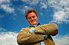 UK ENGLAND LONDON 8SEP03 - Young Dutch actor Ruben Brinkman (23), starring the role of young Vincent Van Gough in the theatre play Vincent in Brixton, poses for portraits on Hungerford Bridge opposite the Royal Festival Hall on the South Bank. This role, for which he got cast straight out of drama school, is his first international engagement<br /> Photography by Jiri Rezac<br /> Tel 0044(0)208 944 6933<br /> www.linkphotographers.com