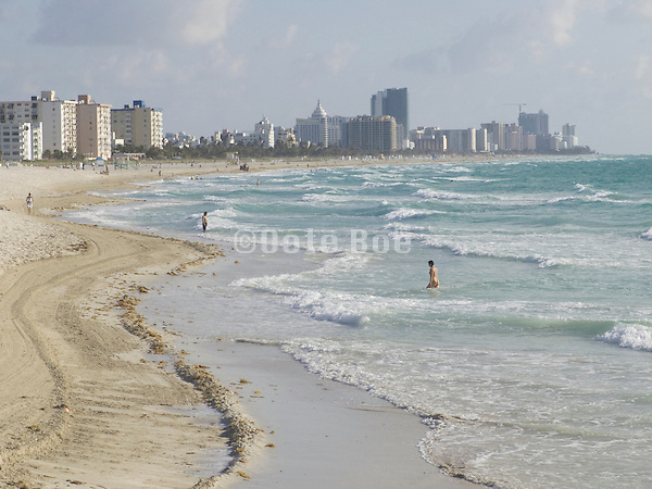 view of Miami Beach Florida in early morning sunshine with the Atlantic Ocean from South Point