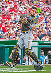 21 June 2015: Pittsburgh Pirates catcher Francisco Cervelli in action against the Washington Nationals at Nationals Park in Washington, DC. The Nationals defeated the Pirates 9-2 to sweep their 3-game weekend series, and improve their record to 37-33. Mandatory Credit: Ed Wolfstein Photo *** RAW (NEF) Image File Available ***