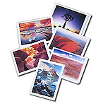 This sets feature 2 each of six different photographs ; Ayers Rock, Australia, Northwoods, Minnesota, Quiver Tree, Namibia, Mt.Robson, Alberta, Canada, Slot Canyon, Arizona, and Mono Lake, California. These notecards are superbly printed on heavy stock, with plenty of space inside for your message. Includes envelopes Watermark does not appear on product.