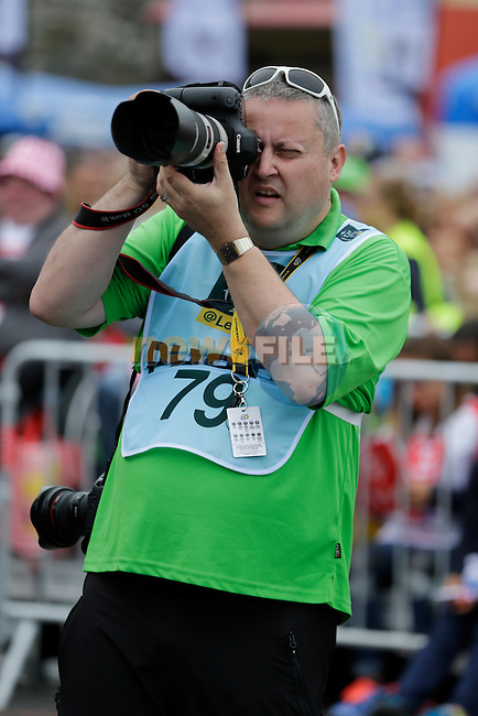 Radsport.CH photographer Heinz Zwicky at sign on before the start of Stage 3 of the 2016 Tour de France, running 223.5km from Granville to Angers, France . 4th July 2016.<br /> Picture: Eoin Clarke | Newsfile<br /> <br /> <br /> All photos usage must carry mandatory copyright credit (&copy; Newsfile | Eoin Clarke)