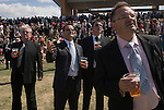 Horse racing at Royal Ascot, Berkshire, England. 2006. Group of men on a boys only day out at the races.