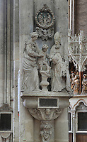 Tomb of Canon Claude Pierre, by Nicolas Blasset, 1600-59, with sculptural group of Claude Pierre kissing the feet of Christ, in the Basilique Cathedrale Notre-Dame d'Amiens or Cathedral Basilica of Our Lady of Amiens, built 1220-70 in Gothic style, Amiens, Picardy, France. Amiens Cathedral was listed as a UNESCO World Heritage Site in 1981. Picture by Manuel Cohen
