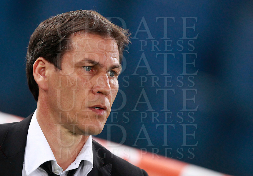 Calcio, Serie A: Roma vs Udinese. Roma, stadio Olimpico, 17 marzo 2014.<br /> AS Roma coach Rudi Garcia, of France, looks on prior to the start of the Italian Serie A football match between AS Roma and Udinese at Rome's Olympic stadium, 17 March 2014.<br /> UPDATE IMAGES PRESS/Isabella Bonotto