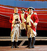 Our Country's Good <br /> by Timberlake Wertenbaker <br /> at the Olivier Theatre, National Theatre, Southbank, London, Great Britain <br /> press photocall <br /> 25th August 2015 <br /> <br /> Jason Hughes as 2nd Lieutenant Ralph Clark<br /> <br /> Peter Forbes as Major Robbie Ross<br /> <br /> David Mara as Capt Jeremy Campbell <br /> <br /> <br /> Photograph by Elliott Franks <br /> Image licensed to Elliott Franks Photography Services