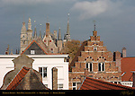 Medieval Skyline, Town Hall Stadhuis and Burg Square Towers, Bruges, Brugge, Belgium