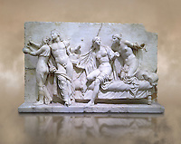 Roman Relief panel of Greek Alcibiades and the prostitute Etere. Inv 6688 - Farnese collection, Naples Museum of Archaeology, Italy