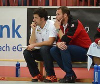 Handball 1. Bundesliga  2012/2013  in der Paul Horn Arena Tuebingen TV Neuhausen - Fuechse Berlin Trainer Dagur Sigurdsson (re, Fuechse Berlin) und Co Trainer Trainer Alexander Haase (Fuechse Berlin)