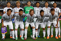 Japan's Sanfrecce Hiroshima players pose before their AFC Champions League match against Central Coast Mariners in Gosford, near Sydney, March 11, 2014. VIEWPRESS/Daniel Munoz EDITORIAL USE ONLY