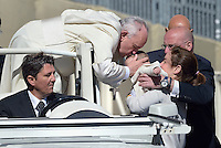 Pope Francis during his weekly general audience in St. Peter square at the Vatican, Wednesday.May 14, 2014.