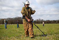 NWA Democrat-Gazette/JASON IVESTER<br /> Doug Dorothy of Lowell scans a quadrant with his metal detector on Wednesday, March 23, 2016, in Ruddick's Field at the Pea Ridge National Military Park. Archaeologists and volunteers are digging at the field throughout the week searching for fragments from the Civil War battle site.