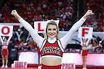 03 November 2016: NC State cheerleader. The North Carolina State University Wolfpack hosted the Lynn University Fighting Knights at PNC Arena in Raleigh, North Carolina in a 2016-17 NCAA Division I Men's Basketball exhibition game. NC State won the game 100-66.