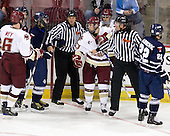 Patrick Wey (BC - 6), Robert Kay (Toronto - 20), ?, Cam Atkinson (BC - 13), Brian Gibbons (BC - 17), Michael Markovic (Toronto - 22) - The Boston College Eagles defeated the visiting University of Toronto Varsity Blues 8-0 in an exhibition game on Sunday afternoon, October 3, 2010, at Conte Forum in Chestnut Hill, MA.