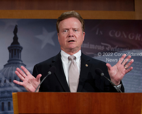 United States Senator Jim Webb (Democrat of Virginia) holds a press conference in the U.S. Capitol on the wartime contracting legislation he is sponsoring with U.S. Senator Claire McCaskill (Democrat of Missouri).  The legislation is intended to reform contracting practices during overseas military operations, institute contractor accountability and requiring greater transparency, competition, and workforce education..Credit: Ron Sachs / CNP