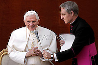 Pope Benedict XVI during his weekly general audience in the courtyard of his summer residence of Castelgandolfo, 40 kms south-east of Rome,   on August 8, 2012.