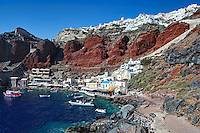 Amoudi bay located below Oia village  in Santorini, Greece