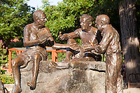 The statue at Barton Springs Pool was donated by Capital Area Sculptures Inc. The 1994 statue by Glenna Goodacre depicts three of Austin's mid-19th century personalities: Roy Bedichek,J. Frank Dobie and Walter Prescott Webb
