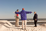 February 27, 2013. Long Beach Island, New Jersey. (left to right) Write David Gessner, our guide Gil and coastal geologist Orrin Pilkey.. Tracing the path of Hurricane Sandy, which wrecked havoc on the northeastern seaboard from October 25-31, 2012. The storm caused flooding and caused an estimated 60 billion dollars worth of damage to affected areas.