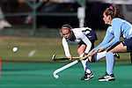 15 November 2014: Liberty's Cassidy Bremner (CAN) (left) and North Carolina's Lauren Moyer (right). The University of North Carolina Tar Heels hosted the Liberty University Flames at Francis E. Henry Stadium in Chapel Hill, North Carolina in a 2014 NCAA Division I Field Hockey Tournament First Round game. UNC won the game 2-1.