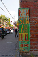 Old hotel and rooming house in Chinatown, Vancouver, BC, Canada