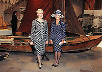 King Harald, and Queen Sonja of Norway, State Visit to Latvia, Visit to Norway Exhibition in Riga with The Presidents wife