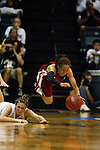 23 MAR 2012:  Kari Daugherty (44) of Ashland University, left, fouls Brittney Spencer (11) right of Shaw University as they scramble for a loose ball during the Division II Womens Basketball Championship held at Bill Greehey Arena in San Antonio, TX.  Shaw University defeated Ashland University 88-82 for the national title.  Rodolfo Gonzalez/ NCAA Photos