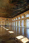 Europe, Russia, Pushkin. The newly restored Grand Ballroom at Catherine Palace.