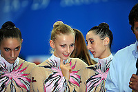 (L-R)  Giulia Galtarossa, Anzhelika Savrayuk and Elisa Bianchi of rhythmic group members from Italy study video replay and talk about routine at 2010 Pesaro World Cup on August 28, 2010 at Pesaro, Italy.  Photo by Tom Theobald.