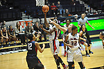 "Ole Miss' Danielle McCray (22) shoots vs. Belmont's Alyssa Visbeen (50) at the C.M. ""Tad"" Smith Coliseum in Oxford, Miss. on Sunday, December 16, 2012. Ole Miss won 63-48."