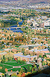 The Missoula, Montana valley including the downtown area and the University of Montana campus and the blue waters of the Clark Fork River