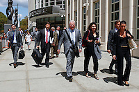 Lawyers who attended for Arab Bank Plc federal case, exit the Brooklyn Federal Court in Brooklyn, New York, 08-14-2014. Photo by VIEWpress
