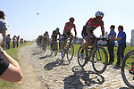 The peloton with John Degenkolb (GER) Trek-Segafredo on the front on pave sector 17 Hornaing a Windignies during the 115th edition of the Paris-Roubaix 2017 race running 257km Compiegne to Roubaix, France. 9th April 2017.<br /> Picture: Eoin Clarke | Cyclefile<br /> <br /> <br /> All photos usage must carry mandatory copyright credit (&copy; Cyclefile | Eoin Clarke)