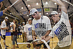 27 APR 2014: Jimmy O'Leary of Springfield College cuts down the net  during the Division III Men's Volleyball Championship held at the Kennedy Sports Center in Huntingdon, PA. Springfield defeated Juniata 3-0 to win the national title.  Mark Selders/NCAA Photos
