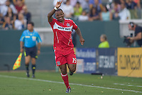 Chicago Fire forward Collins John celebrates his goal pointing to his teammates. The Chicago Fire beat the LA Galaxy 3-2 at Home Depot Center stadium in Carson, California on Sunday August 1, 2010.