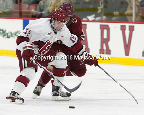 Ryan Donato (Harvard - 16), Casey Fitzgerald (BC - 5) - The Harvard University Crimson defeated the visiting Boston College Eagles 5-2 on Friday, November 18, 2016, at the Bright-Landry Hockey Center in Boston, Massachusetts.