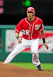 6 June 2010: Washington Nationals' infielder Mike Morse in action against the Cincinnati Reds at Nationals Park in Washington, DC. The Reds edged out the Nationals 5-4 in a ten inning game. Mandatory Credit: Ed Wolfstein Photo