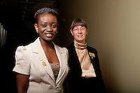 UWRF McNair Scholar, Nene Eze, left, with faculty mentor Dawn Hukai, right.<br />