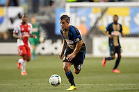 Daniel Cruz (44) of the Philadelphia Union. The Philadelphia Union and the Portland Timbers played to a 0-0 tie during a Major League Soccer (MLS) match at PPL Park in Chester, PA, on July 20, 2013.