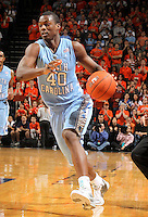 Jan. 8, 2011; Charlottesville, VA, USA; North Carolina Tar Heels forward Harrison Barnes (40) drives down court  during the game against the Virginia Cavaliers at the John Paul Jones Arena. Mandatory Credit: Andrew Shurtleff