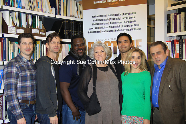 """Rehearsals for Ragtime starring One Life To Live Kerry Butler """"Claudia Reston"""" (green), Matt Cavenaugh (also As The World Turns """"Adam Munson"""") (L), General Hospital Tyne Daly """"Caroline"""", Jarrod Emick (2nd L), Jose Llana (back R) on February 11, 2013 for a concert at Avery Fisher Hall, New York City, New York on Monday February 18, 2013. (Photo by Sue Coflin/Max Photos)"""