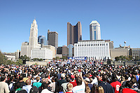 Supporters gather to hear Democratic presidential candidate Barack Obama speak during his American Jobs Tour Rally at Genoa Park in Columbus, Ohio, on Friday, Oct. 10, 2008. (Kevin Craiglow/pressphotointl.com)
