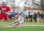 18 April 2015:  University of Vermont Catamount Long Stick Midfielder Graham Bocklet, a Freshman from Waccabuc, NY, in action against the University of Hartford Hawks at Virtue Field in Burlington, Vermont. The Cats defeated the Hawks 14-11 in the final home game of the 2015 season. Mandatory Credit: Ed Wolfstein Photo *** RAW (NEF) Image File Available ***