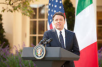 Prime Minister Matteo Renzi of Italy answerquestions during a   joint news conference, with President Barack Obama in the White House Rose Garden.